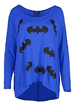 Damen Batman Schulterfrei Überdimensional Schichtung Hoch Niedrig Lagenlook  Baggy Dehnbar Freizeit Langärmlig T-shirt: Amazon.de: Bekleidung