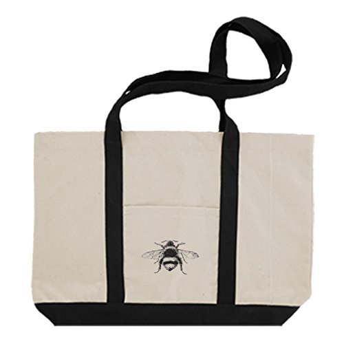 (Cotton Canvas Boat Tote Bag Bumblebee Vintage Look #2 By Style In Print | Black)