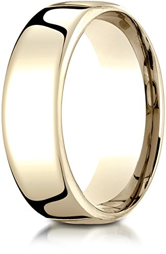 Benchmark 14K Yellow Gold 7.5mm European Comfort-Fit Wedding Band Ring, Size 13.5 ()