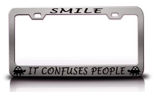 License Plate Covers Smile It Confuses People With Turtle Design Life Is Good Steel Metal Chrome License Plate Frame
