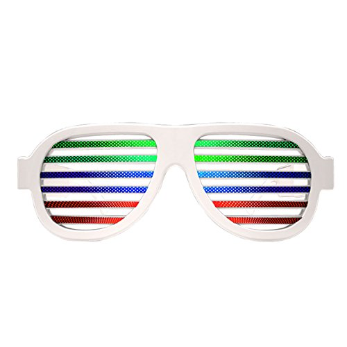 Delonix Sound and Music Activated Slotted Shape Light-Up Glasses for Party and Club (White, Medium) (Light And Music Glasses)