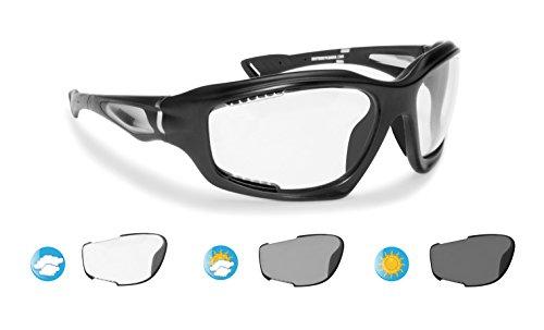 Bertoni Sport Photochromic Antifog Sunglasses cat. 0-3 for Cycling Running Golf Ski Watersports - Anticrash Ventilated Lenses Italy - F1000A1 Mat Black - Wraparound Windproof Sports Glasses