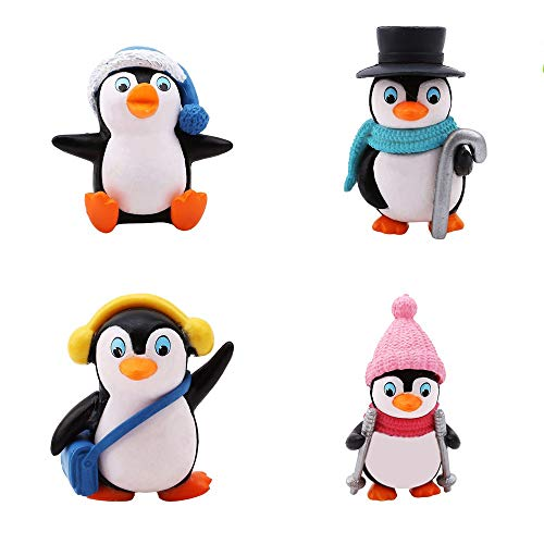(Kimkoala Cute Miniature Penguin Figures, 4Pcs Mini Kawaii Penguin Figurine Figure Resin Craft Toys Collection Playset Home Garden Decor Ornaments Cake Topper)