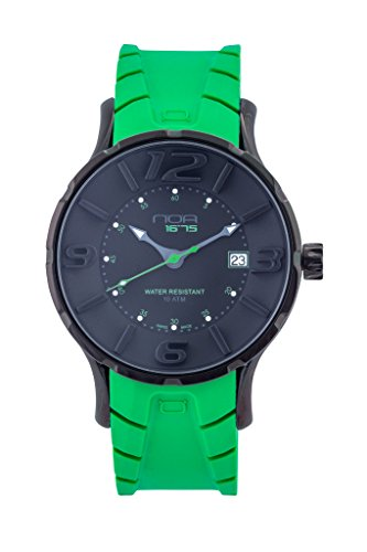Accent Watch Green (NOA Unisex Swiss Quartz Watch - Premium Analog Display with Black Dial and Green Watch Band - Black Accents - Water Resistant Stainless Steel Fashion)