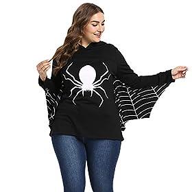 - 41hjyh 2BtOfL - BeautyGal Women's Halloween Hoodie Batwing Spiderweb Hooded Sweatshirt Party Costumes