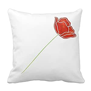 Generic Soft and Comfortable Pillows Poppy Watercolor Pillow 18 x 18