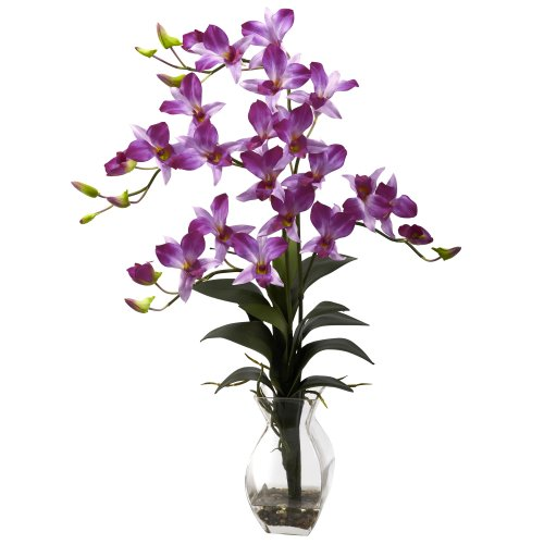 Nearly Natural 1292-PP Dendrobium Orchid with Vase Arrangement, Purple ()