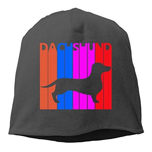 UI&PPQ54 Unisex Vintage 1970s Dachshund Soft Winter Activewear Wool Beanies Hat Skull Caps ()