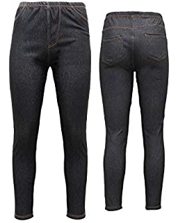 New Ladies Womens Denim Look Skinny Jeggings Leggings Plus Size 8-20 High Waist