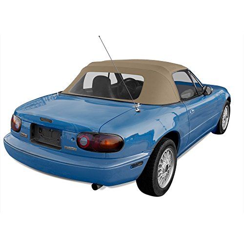 - Sierra Auto Tops Convertible Soft Top Replacement, compatible with Mazda Miata MX5 1990-2005, w/Plastic Window, Cabrio Vinyl, Light Tan