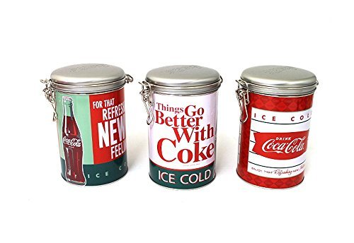 Set of 3 Vintage Style Coca-Cola Coke Lock-Top Kitchen Canister Tins