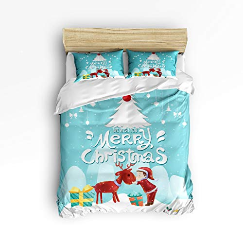 Libaoge 3 Piece Bedding Set for Girls Boys, Zipper, Ultra Soft - Sweet Moments A Boy Kiss Reindeer at Xmas Night - 1 Printed Down Comforter Duvet Cover Matching 2 Pillow Shams, Full Size