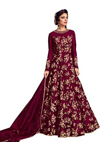 (STELLACOUTURE Heavy Embroidered Indian Pakistani Ethnic wear Anarkali Salwar Kameez for Women Glamour Mohini-2 (Maroon, XL-44))