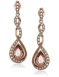 Rose Gold Plated Swarovski Crystal Vintage Rose Twist Stud Earrings