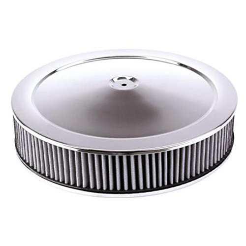 14' Chrome Air Cleaner - Chrome Air Cleaner with Washable Filter, 14 x 3 Inch