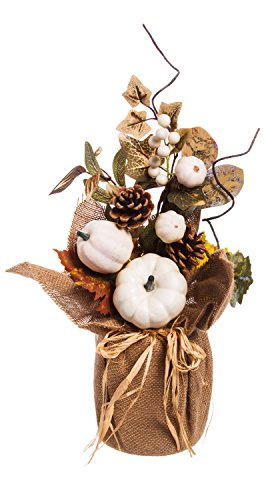 - Cypress Home White Pumpkin Floral Table Decor