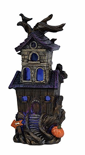 One Holiday Lane Mini LED Light-up Color-Changing Haunted Halloween House Tabletop Decoration (Tree) (Mini Figurine House)