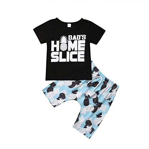 Phoebe Dress In Black - Toddler Infant Baby Boys T-Shirt Tops+Pants Shorts Set Summer Outfits Clothes (Black Pineapple, 6-12 Months)