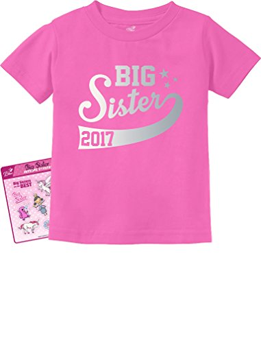 TeeStars - Big Sister Est 2017 - Sibling Gift Idea Toddler/Infant Kids T-Shirt 5/6 Pink