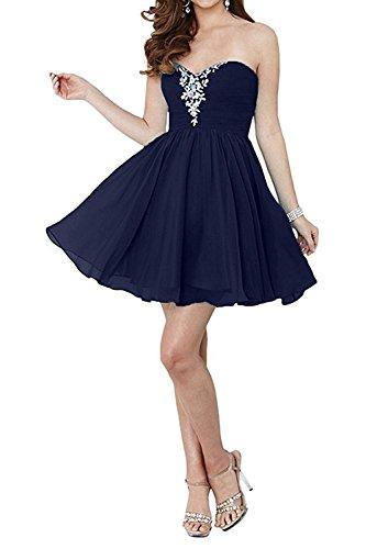 aus Blau Damen Navy Promkleider Chiffon Herzausschnitt Kurz Abendkleider Charmant Partykleider Cocktailkleider Mini w70qUPqxO