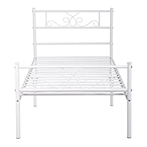SimLife Twin Size Metal Bed Frame with Headboard and Footboard Mattress Foundation Platform Bed for Kids No Box Spring Needed White