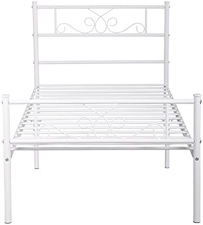 SimLife Single Bed Platform Kids Boys Adult No Box Spring Needed Princess White Twin Size Bed Frame with Headboard and Footboard Mattress Foundation 41hk 2BP DXuL
