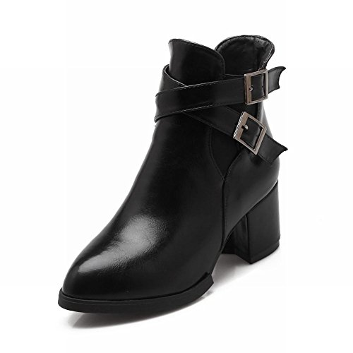 Latasa Moda Donna Fibbia Cinturino Grosso Tacco A Punta Alla Caviglia Stivali Alti Jodhpur Neri