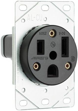 Pass /& Seymour 3804 Power Outlet 50A 250V 2P 3W Flush Mount