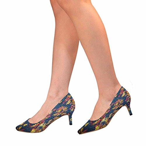 Kitten Autumn 1 Pointed Multi InterestPrint Shoes Low Leaves Heel Toe Womens Dress Pump Fallen EwBqf
