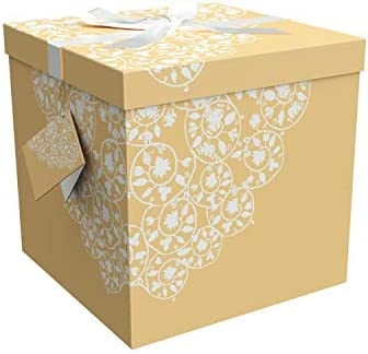 Amazon Gift Box 9x9x9 Cassandra Pop Up In Seconds Comes With Decorative Ribbon Mounted On The Lid A Tag And Tissue Paper
