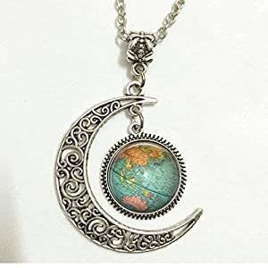 Amazon.com: Charm Crescent Moon Globe Jewelry, Vintage