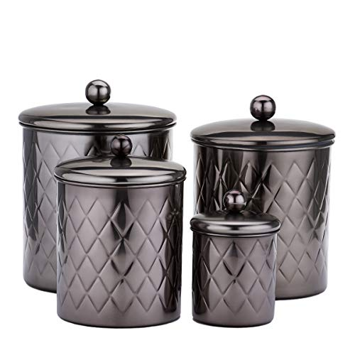 Old Dutch 1863BM 4 Pc. Black Mirror Embossed Diamond, 4, 3, 2, Qt Canister Set, 11.5Qt,