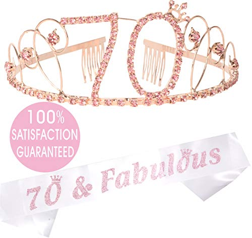 (70th Birthday Tiara and Sash| HAPPY 70th Birthday Party Supplies| 70 & Fabulous Black Glitter Satin Sash and Crystal Tiara Birthday Crown for 70th Birthday Party Supplies and Decorations)