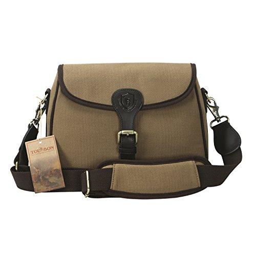 (TOURBON Canvas and Leather Cartridge Carrier Shotgun Shell Bag (Grey Khaki))