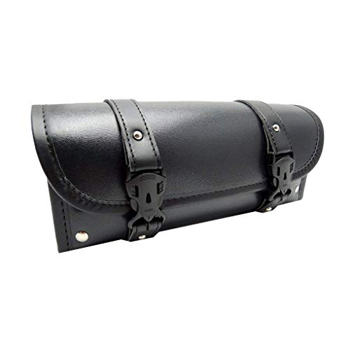 Motorcycle Fork Bag Handlebar Leather Tool Pouch Roll Barrel Bags for Yamaha ()