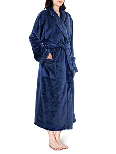 PAVILIA Premium Women Fleece Robe with Satin Trim | Luxurious Super Soft Plush Bathrobe