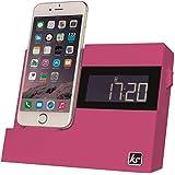 KitSound X-Dock 3 LCD Display Clock Radio Dock with Lightning Connector - Pink