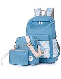 Leaper Casual Lightweight Canvas Laptop Bag Cute backpacks+Shoulder Bag+Purse Light Blue
