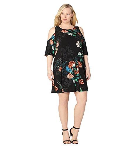 AVENUE Women's Antique Floral Cold Shoulder Dress, 18/20 Black