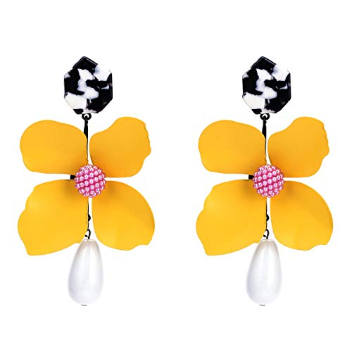 - Acrylic Flower Earrings for Women - Big Flower Earrings With Resin - Shell Statement Earrings for Moms, Beloved, Sister or Self (Yellow Happy)