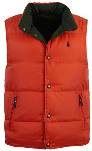Ralph Lauren Down Puffer (Polo Ralph Lauren Men's Reversible Puffer Vest-Orange/Pine-Small)