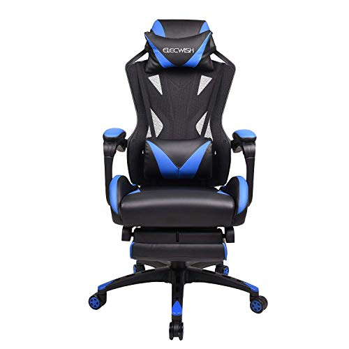FULLWATT Gaming Chair Mesh Ergonomic High Back Video Game Chairs Computer Gaming Chairs with Retractable Footrest (Blue)