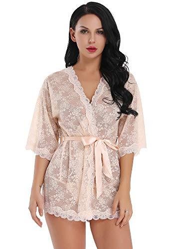Cherrydew Womens Lace Kimono Lingerie Robe Set See Through Sheer Babydoll Sleepwear(Pink,XXL)
