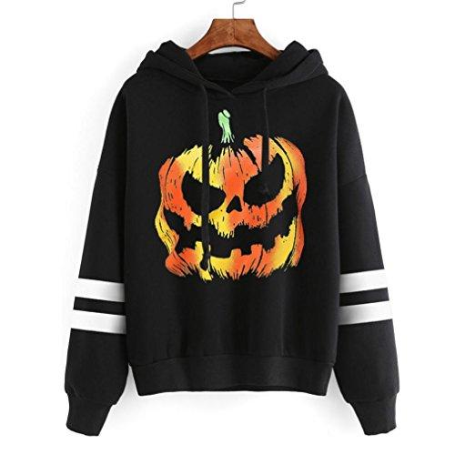 HOT Sale,AIMTOPPY Women Round Neck Halloween Print Long Sleeve Casual Sweatshirt Pullover Soft Tops (L, Black (Simpsons Halloween 22)