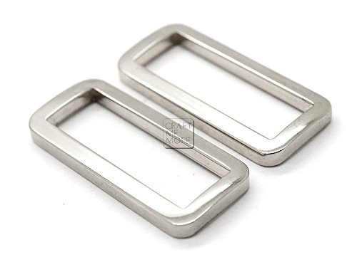CRAFTMEmore 1 1/2 Inches 10 PCS Flat Rectangle Rings Buckle For Bag Belt Strap Webbing Heavy Duty Loop Quality Plating (Silver)