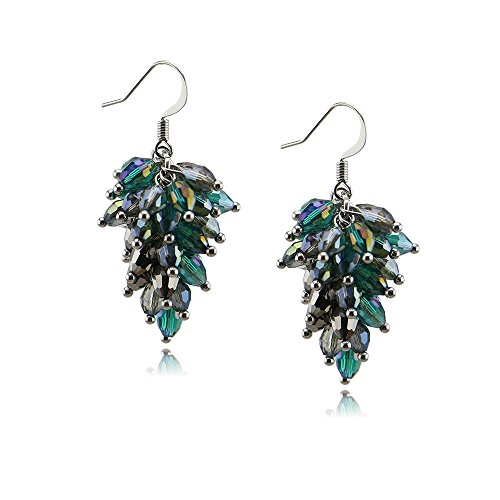 i Element Crystal Cluster Faceted Dangle Earrings For Woman Grils (Green) ()