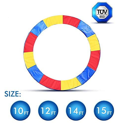 ANCHEER 15 14 12 10 Ft Replacement Trampoline Surround PVC Pad Foam Safety Spring Cover Padding Pads (Rainbow, 14ft)