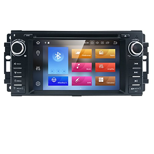 6.2 Inch Android 8.0 Octa-Core 4G RAM 32G ROM Capacitive Touch Screen Car Stereo Radio DVD Player WiFi CANbus Screen Mirroring Function OBD2 DVR TPMS for Jeep Dodge Chrysler