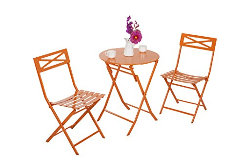 Captiva Designs 3-Piece Folding Bistro-Style Patio Table and Chair,Orange price