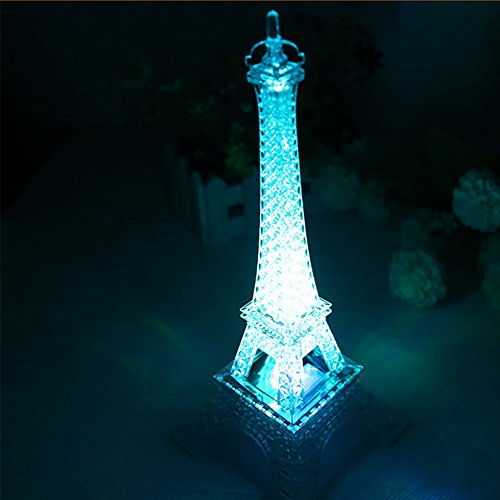 Colorful Eiffel Tower Nightlight Paris Style Decoration LED Lamp Fashion Desk Bedroom Acrylic Light 8 Inch